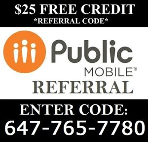 $85 Referral Public mobile Code: 647-765-7780 referral code
