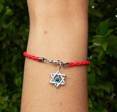 Star of David Leather Like Bracelet Kabbalah Red String Evil Eye Judaica Charm