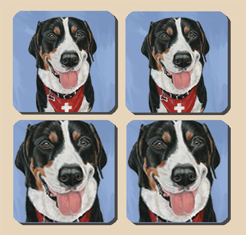 Greater Swiss Mountain Dog Rubber Coasters Set of 4