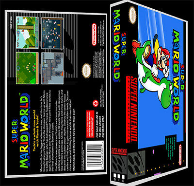 Super Mario World  - SNES Reproduction Art Case/Box No Game.