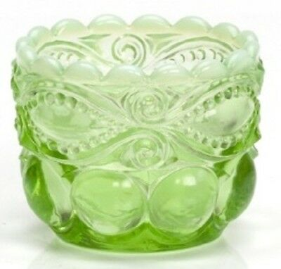 Salt Cellar Dip / Tiny Bowl Eyewinker - Green Opalescent Glass - Mosser USA