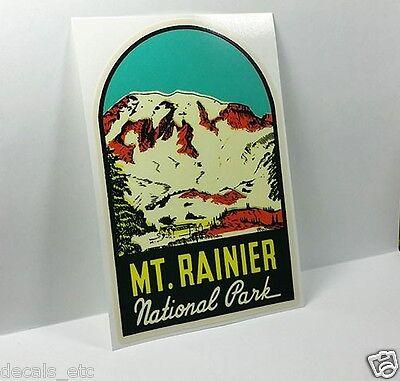 Mt. Rainier National Park Washington Vintage Style Decal, Vinyl  luggage Sticker