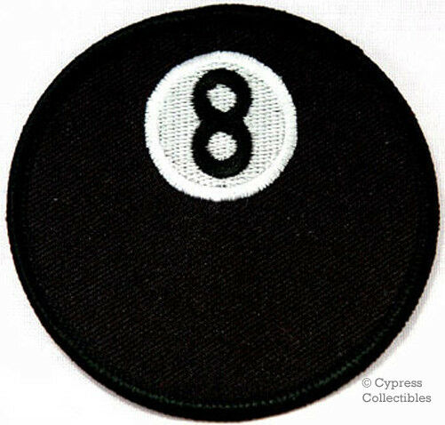 8-BALL EMBROIDERED IRON-ON PATCH POOL BILLIARDS EIGHT EMBROIDERED BIKER EMBLEM