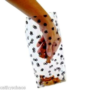 Lot 10 Extra Large Cello Goodie Treat Bags Cat Dog Black Paw Print Cellophane - Large Clear Treat Bags
