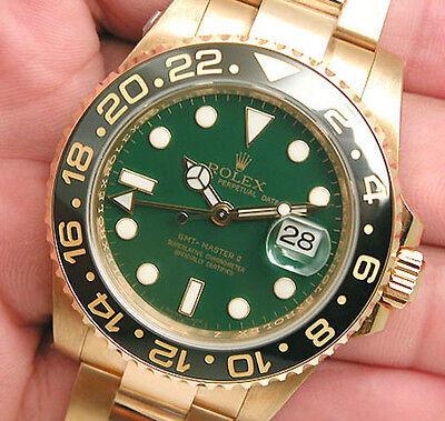 Rolex GMT Master II 116718 Yellow Gold Green Dial Black 24Hr Ceramic Bezel 40mm