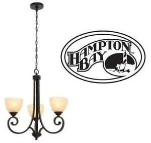 NEW HAMPTON BAY 3-LIGHT CHANDELIER HDP12084 244269900 Lighting Amber Glass Shades