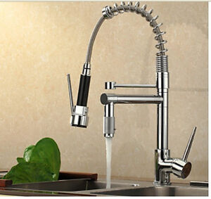 Modern-Chrome-Brass-Pull-Out-Spring-Kitchen-Faucet-2-Swivel-Spout-Sink-Mixer-Tap