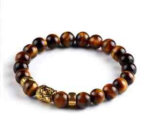 UK. Gold Buddha Tigers Eye Crystal Gemstone Beaded Bracelet.. Reiki