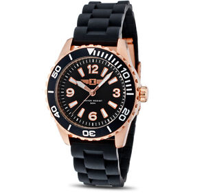 Invicta-Black-Dial-18K-Rose-Gold-Plated-Stainless-Steel-Case-Black-Mens-Watch