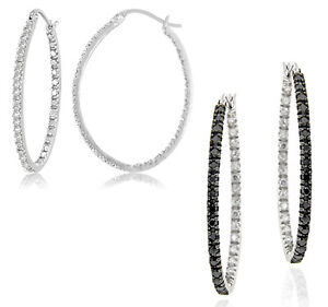 Black-or-White-Diamond-Accent-Sterling-Silver-Hoop-Earrings-Choice