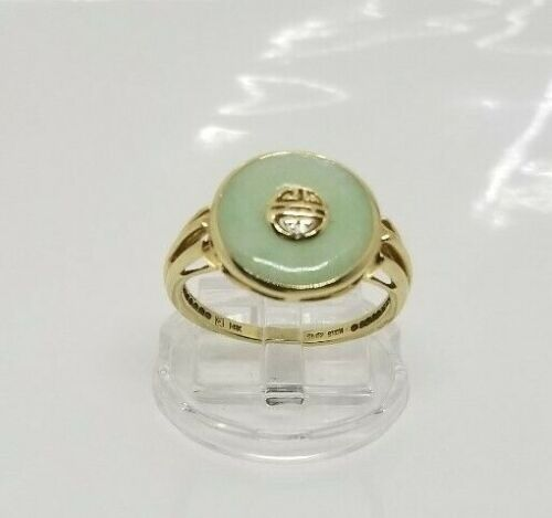 Vintage 14K Yellow Gold Apple Green Jade Ring Size 10
