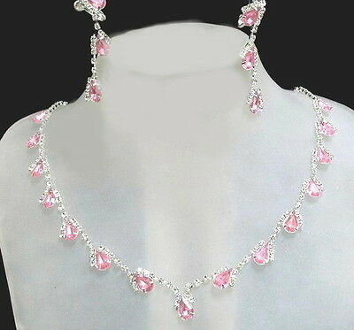Rhinestone Necklace Earings ~ Medium Pink, Costume, Bridal, Prom Jewelry
