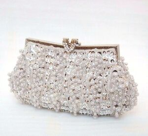 UK----beaded sequins evening handbag party Clutch #5418