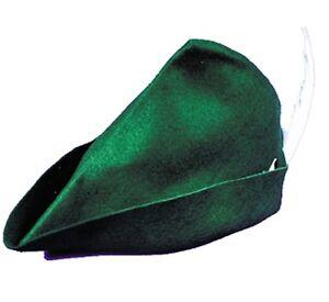 ADULT GREEN RENAISSANCE PETER PAN ELF ROBIN HOOD COSTUME HAT W/ WHITE FEATHER