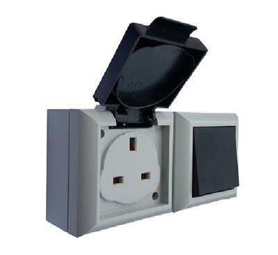 Exterior IP54 13A Plug Socket with 2 Way Switch for Garages Porches Sheds etc