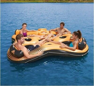 Inflatable Island 4 Person Floating Raft Boat Tube Lounger Lake River 2 Coolers