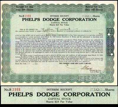 Phelps Dodge Corporation NY 1929 Stock Certificate