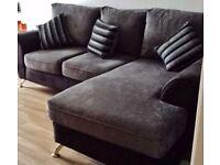 Chaise Sofa Black & Grey