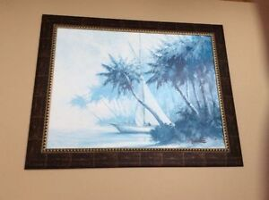 Real Beautiful Painting of Boat And Palm Trees Scenery