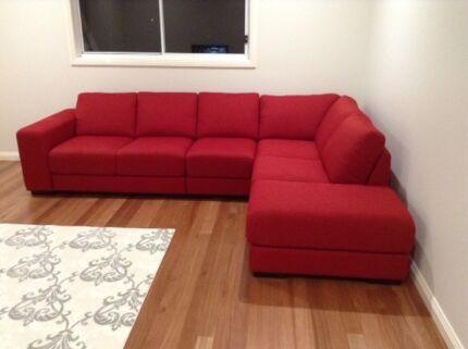 Attractive Nick Scali 6 Seater Fabric Corner Lounge
