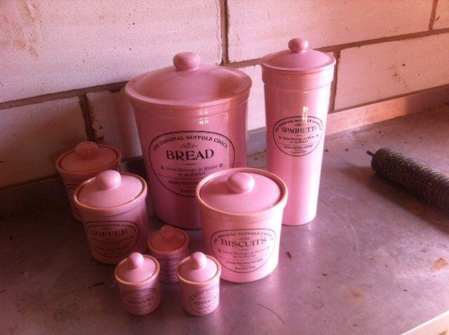 Baby Pink Ceramic Kitchen Storage Jars