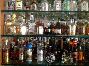 Miniature bottle collection with liquor