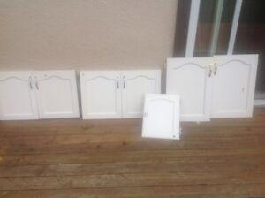 7 White Wooden Cabinet Doors assorted sizes