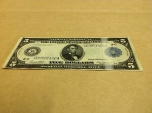 1914 $5 FEDERAL RESERVE NOTE - LARGE NOTE - BLUE SEAL - 100 YEARS OLD NEXT YEAR