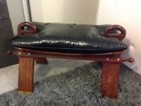 ANTIQUE STOOL MADE FROM BROWN WOOD AND HAS COMFORTABLE BROWN LEATHER SEATING ONLY £25