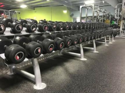 Full set of dumbbells and racks inc Half Rack