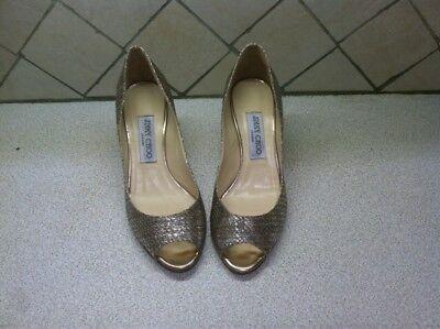 $595 NEW size 37   Jimmy Choo ISABEL Champagne Glitter Fabric Open Toe Pump Shoe