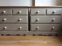 Shabby chic bedroom furniture (2x drawers, 2xbedside drawers, mirror, wardrobe, bed frame)