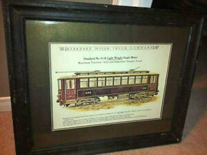 SET OF 2 - VINTAGE-LOOK TRAIN/LOCOMOTIVE PICTURES/BLACK FRAME