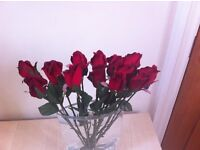 Fabric red roses - very long stemmed x 14 Single Flowers