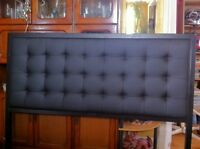 """60"""" Queen Size Leather Headboard Metal Frame Bed Rug Wheels"""
