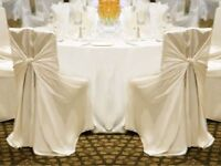 FOR SALE - White, Ivory & Brown Universal Chair Covers