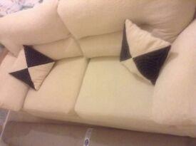 3 Seater DFS Fabric Cream Sofa
