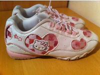 HELLO KITTY CHILDREN GIRLS TRAINERS WHITE & PINK SIZE UK 12 KIDS