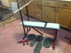 Weight bench, bar, weights