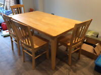 Dining table and 4 chairs, light wood finish