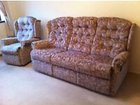 Three seater reclining settee and one chair