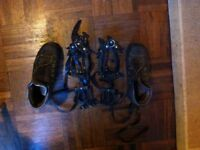 Hill walking boots with crampons