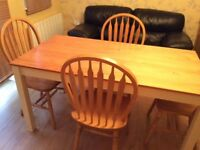 Solid Pine & cream dining table & 4 chairs