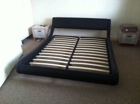 Italian Modern Leather King Size Bed with Memory Foam Mattress - only 7 months old from New.