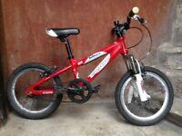 Red and White Carrera Blast Kid's Bike 16 Inch Wheels Aluminium Frame: suits 5 - 7 year-old