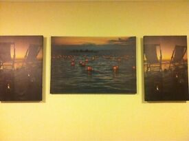 3 x CANVAS Set - WATER / SUNSET - Lanterns with Lighting - (Battery operated by click of a Switch)