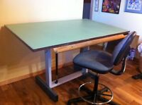 Large Hydraulic Drafting Table and Drafting Chair