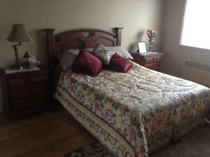 Like NEW Queen size Bedroom Set with 2 end cabinets