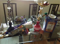 Collection of herbal shisha hookaah molasses and vases