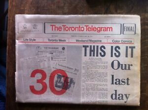 complete final edition Toronto Telegram Oct 31, 1971